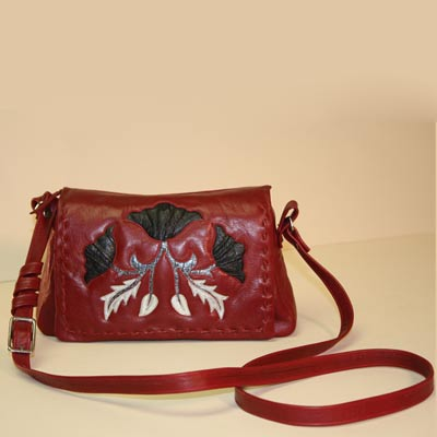 Handmade Red Leather Purse with Black Flowers