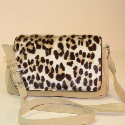 Handmade Tan Suede Handbag with Animal Fur Print