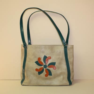 Custom Made Purse Tote Bag of Shadow Goat with Coral and Turquoise Design