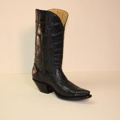 Black Seamless Alligator Belly Custom Cowboy Boot