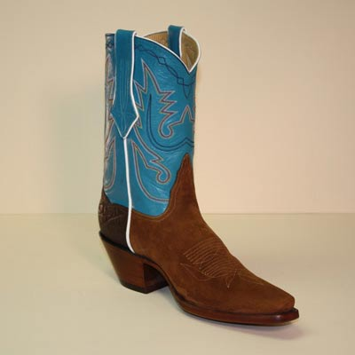 Tan Pig Suede Rough Out Custom Cowboy Boot with Brown Elephant Counter and Turquoise Hand Stitched Shaft