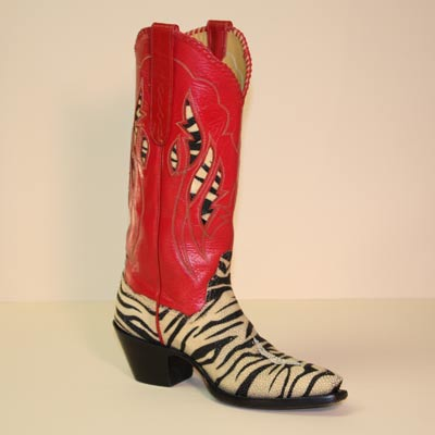 Black and White Tiger Stingray Custom Cowboy Boot