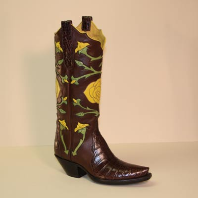 Chocolate alligator custom cowboy boot with handmade yellow roses