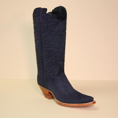 Navy Cashmere Suede Handmade Cowboy Boot