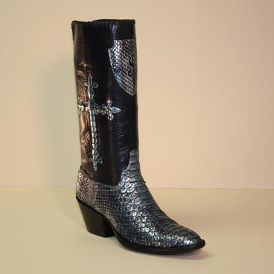 Blue Metallic Python Custom Cowboy Boot