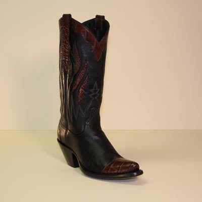 Black Deerskin Cowboy Boot w Brown Alligator Tips