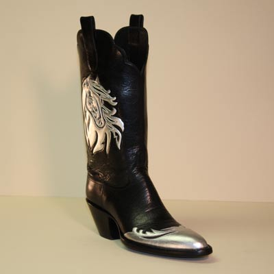 Black Calf Custom Cowboy boot with Silver Horse Overlay