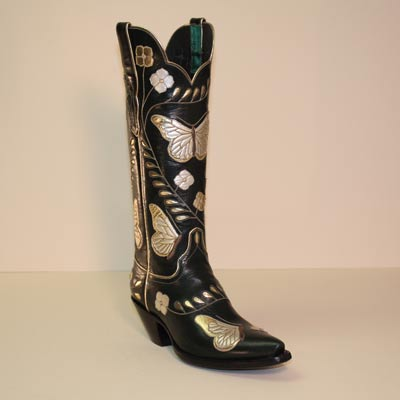 Gold and Green Butterfly Custom Cowboy Boot