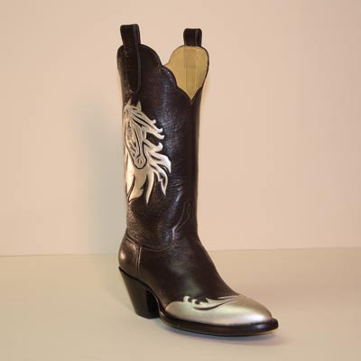 Brown Buffalo Calf Custom Cowboy Boot with Gold Horse Head