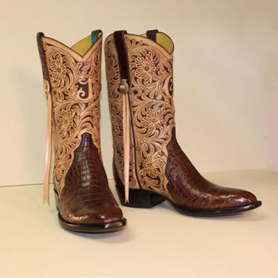 Chocolate Brown Alligator Custom Cowboy Boot with Hand Tooled Filigree