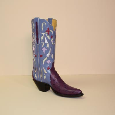 Purple Ostrich Custom Cowboy Boot Gallegos cut with Inlayed Shaft