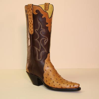 Saddle Tan Mad Dog Ostrich Gallego Style Custom Cowboy Boot