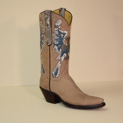 Custom Made Vintage Calf Cowboy boot with Python Celtic Butterfly Cross