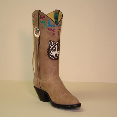 Vintage Calf Custom Cowboy Boot with Wolf Head