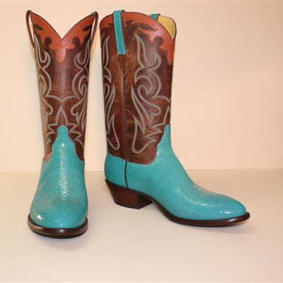 Smooth Turquoise Stingray Custom Cowboy Boot with Tan Vintage Buffalo