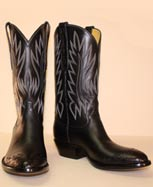 Black French Calf Cowboy Boot with Alligator Belly toe and ear pulls