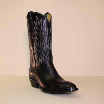 Cowboy Boot made of Black French Calf with Black Alligator Belly Toe and Ear Pulls
