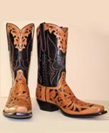 Cowboy Boot Black Calf with Filigree vamp and collar