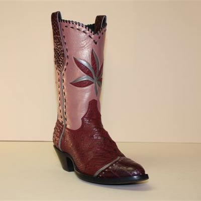 Fancy Cowboy Boot of Burgundy Pin Ostrich with burgundy Alligator pearlized Pink Kid buckstitching and leaf design