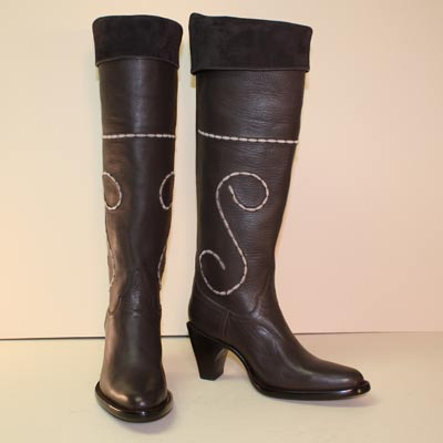 Tall Brown Calf Ladies Dress Boot with Suede Collar