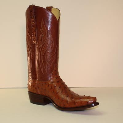 Dark Cognac Pin Ostrich Cowboy Boot with Inlay