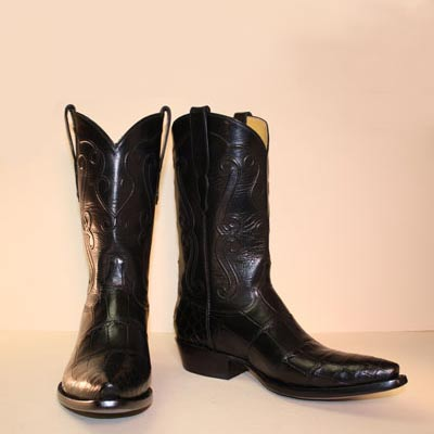 Black Alligator Belly Custom Cowboy Boot with Hand Corded Top