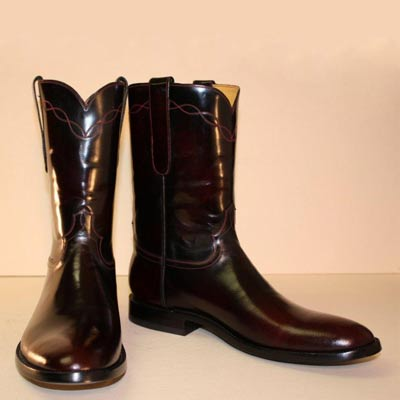 black cherry roper style custom cowboy boot
