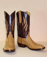 saddle tan ostrich custon cowboy boot with inlayed tops