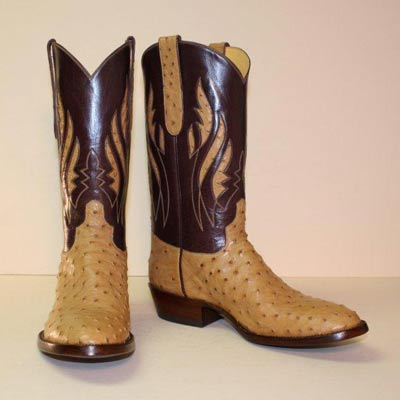 saddle tan ostrich custom cowboy boot with inlayed tops