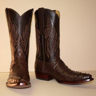 Nicotine Ostrich Custom Cowboy Boot with Inlayed Tops