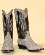 gray sueded elephant custom made cowboy boot with elephant inlays and a black buffalo calf handstitched top