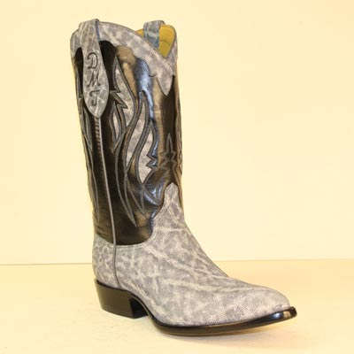 Gray Sueded Elephant Custom Made Cowboy Boot with Elephant Inlays and Black Buffalo Calf Top