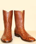 custom made vintage brandy ostrich cowboy boot roper style with cognac buffalo top