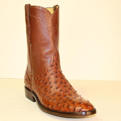 Vintage Brandy Ostrich Custom Made Roper Style Cowboy Boot