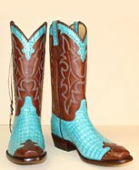 turquoise caiman custom made cowboy boot