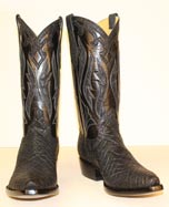 black elephant custom cowboy boot with elephant inlays and elephant collar and ear pulls