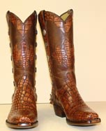 vinatge cognac alligator handmade cowbot boot with Texas Star conchos