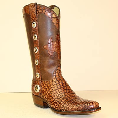 vintage cognac alligator handmade cowboy boot with Texas Star conchos