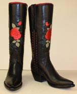 tall fashion boot of black glass calf with metallic red rose inlay
