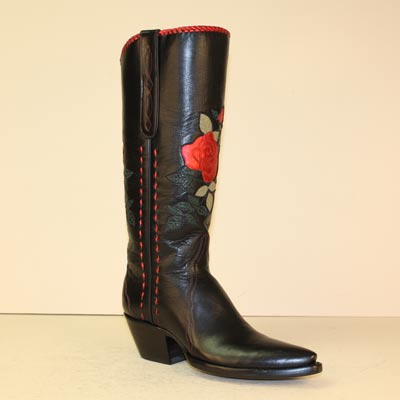 Tall Black Fashion Boot with Metallic Red Rose Inlay