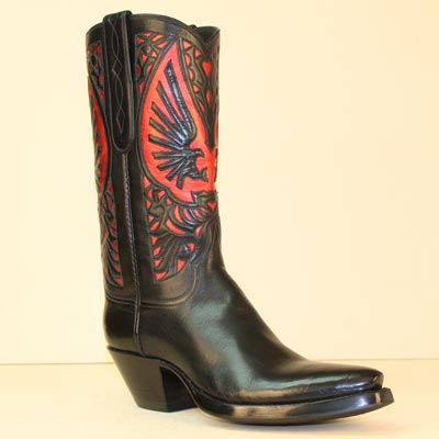 Handmade Black Milano Buffalo Cowboy Boot with Red Metallic Eagle Inlay