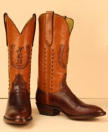 handmade custom cowboy boot of Colorado Sombra Cow and Cognac Milano Buffalo with Horseshoe Inlay, Initials, and Buckstitching