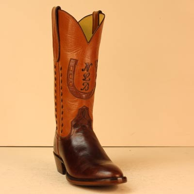 Custom Made Cowboy Boot of Colorado Sombra Cow and Cognac Milano Buffalo with Initials, Horseshoe Inlay, and Buckstitching