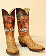 custom hand tooled horse scene cowboy boot with full quill ostrich vamps