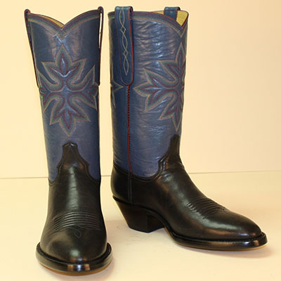Blue Kangaroo Custom Cowboy Boot with 11 row handstitched medallion