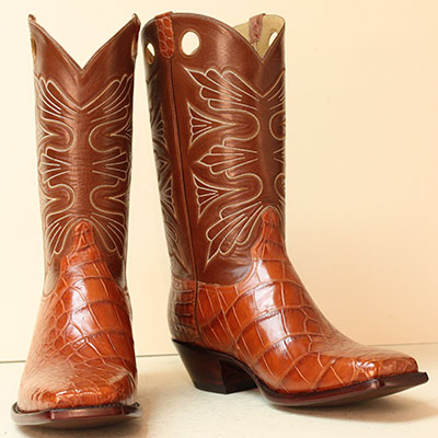 cognac alligator with handstitched kasur buffalo shafts