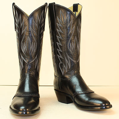 Black Buffalo Custom Cobwboy Boot with Spat Accent on Vamp and 6 row stitch pattern