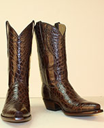 handmade seamless chocolate alligator belly cowboy boots