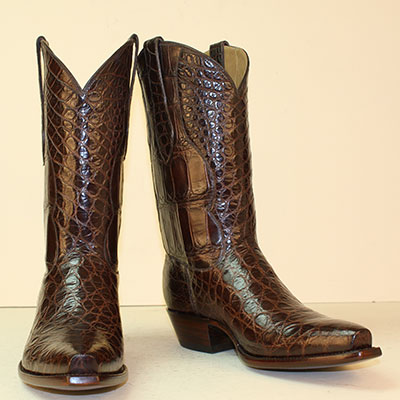 Seamless chocolate alligator belly custom made cowboy boot
