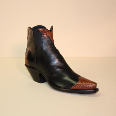 Black French Calf and  Cognac Alligator Custom Cowboy Botine